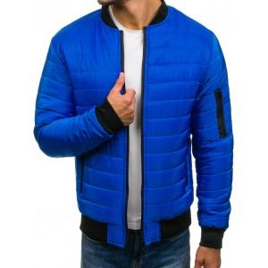 Moderné pánske bober bundy v modrej farbe