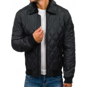 Pánská zimná bomber bunda s kožušinou v čiernej farbe
