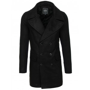 Čierny pánsky kabát so zapínaním na gombíky