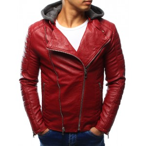 Červená pánska kožená bunda s kapucňou