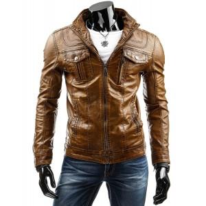 Hnedá pánska kožená bunda s vreckami na hrudi