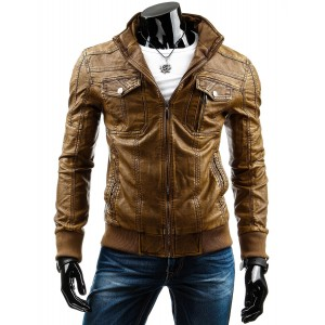 Hnedá pánska kožená bunda s vreckami