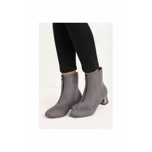 Sivé dámske semišové topánky na opätku