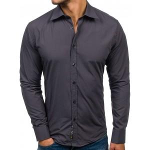 Tmavo sivá pánska košeľa slim fit