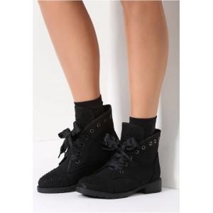 Čierne dámske členkové topánky s viazaním