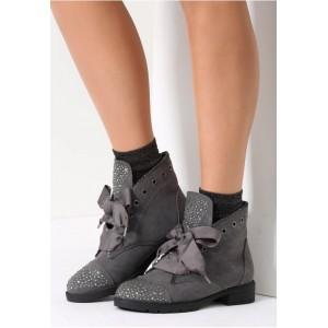 Dámske topánky na zimu v tmavo sivej farbe