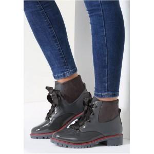 Sivá dámska kotníková obuv na šnurovanie