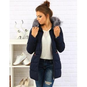 Elegantná dámska zimná bunda tmavo modrej farby