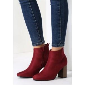 Bordová dámska zimná obuv na hrubom podpätku