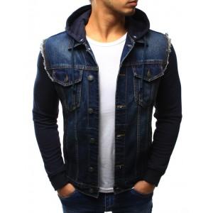 Jeansová prechodná bunda modrej farby