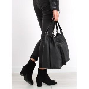 Čierna dámska kabelka so strapcami