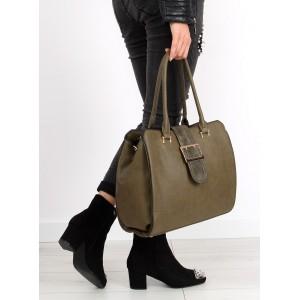 Zelená dámska kabelka s prackou