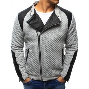 Sivá pánska prešívaná bunda na jeseň