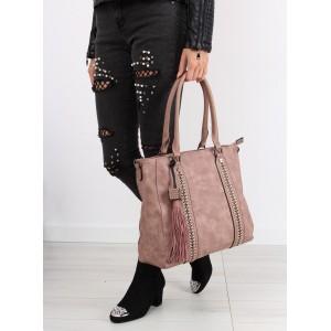 Ružová dámska kabelka so strapcom