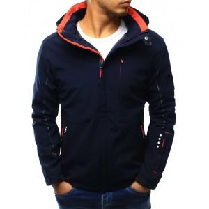 Tmavo modrá pánska jesenná bunda s kapucňou