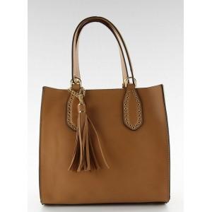 Hnedá dámska kabelka so strapcami
