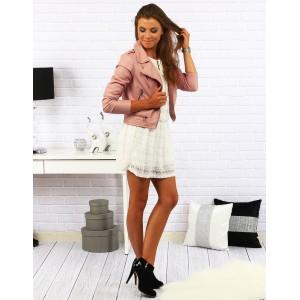 Dámska jesenná kožená bunda ružovej farby