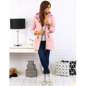 Prešívaná dámska prechodná bunda v ružovej farbe