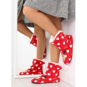 Červené dámske papuče s motívom soba