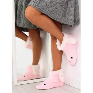 Pohodlné dámske papuče v ružovej farbe