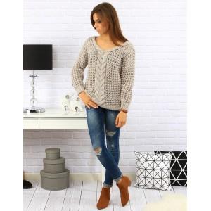 Béžový dámsky pletený sveter s vrkočom