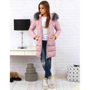 Ružová zateplená bunda s kožušinou pre dámy