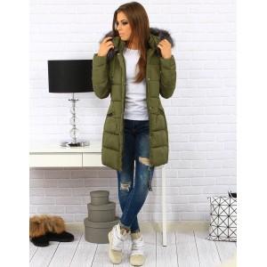 Zelené dámske bundy na zimu s kapucňou