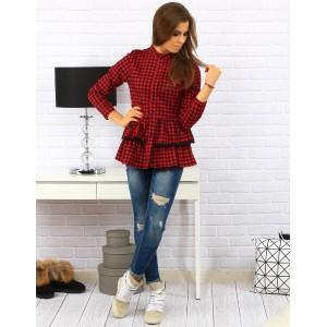 Červeno čierna bavlnená košeľa pre dámy