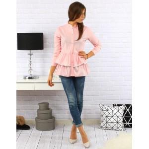 Ružová dámska bavlnená košeľa s volánikom