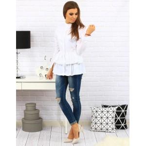 Biela dámska košeľa s dlhým rukávom bez golierika
