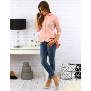Elegantná dámska košeľa s trojštvrťovým rukávom a predĺženým zadom svetlo ružovej farby