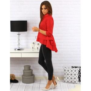 Predĺžená dámska košeľa s trojštvrťovým rukávom v červenej farbe