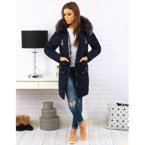 Elegantné prešívané dámske tmavo modré bundy na zimu s kožušinou