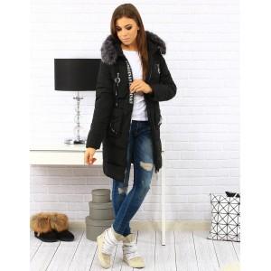 Dlhá čierna dámska zateplená bunda na zimu s kapucňou a kožušinou