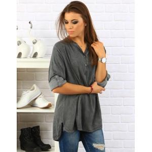 Sivá dámska košeľa voľného strihu s dlhým rukávom