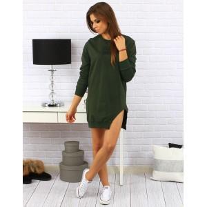 Dámske pohodlné voľné šaty nad kolená s rázporkom na boku v zelenej farbe