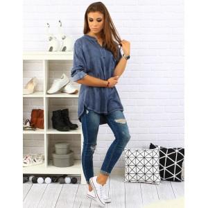 Tieňovaná modrá košela pre dámy s dlhým rukávom a voľným strihom