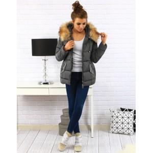 Zateplené dámske zimné bundy v sivej farbe s kožušinou a zapínaním na zips