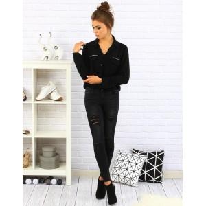 Čierna elegantá košeľa pre dámy s dlhým rukávom a striebornými kamienkami na vreckách