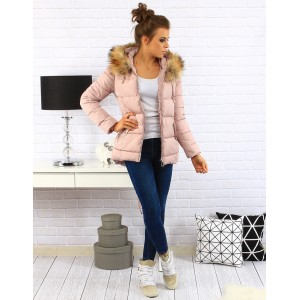 Ružové dámske zateplené bundy na zimu s prešívaním a zapínaním na zips