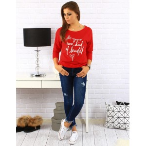 Červené dámske bavlnené svetre voľného strihu s trojštvrťovým rukávom