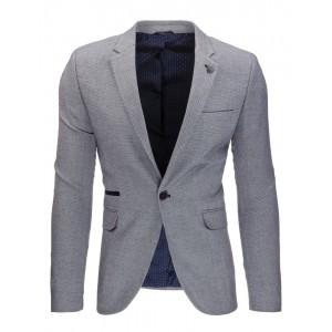 Elegantné tmavo sivé pánske sako s vreckami a nášivkami na lakťoch