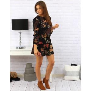 Dámske čierne šaty nad kolena s hnedými a ružovými kvetmi so zapínaním na gombíky