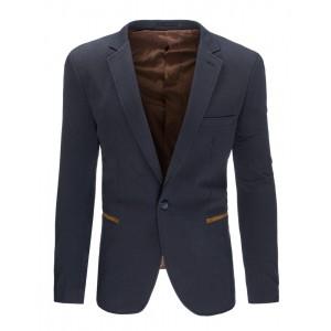 Formálne tmavo sivé pánske sako slim fit s hnedými lakťovými nášivkami