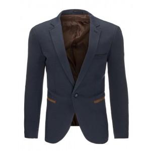 Tmavo modré pánske saká slim fit s hnedým lemovaním na vreckách