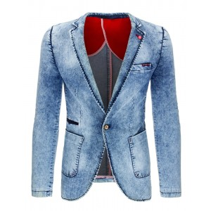 Rifľové pánske sako s vreckami v modrej farbe vhodné na každú príležitosť