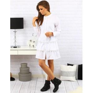 Dámske jednoduché volánikové šaty so zapínaním na gombíky v bielej farbe