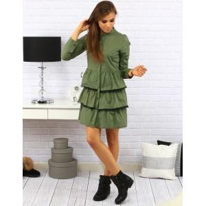 Moderné dámske krátke šaty so zapínaním na gombíky v zelenej farbe s volánikovou sukňou