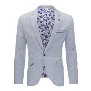 Elegantné bavlnené pánske sako v sivej farbe s vreckami a gombíkmi