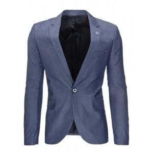Bavlnené pánske saká modrej farby s ozdobným gombíkom a vreckami